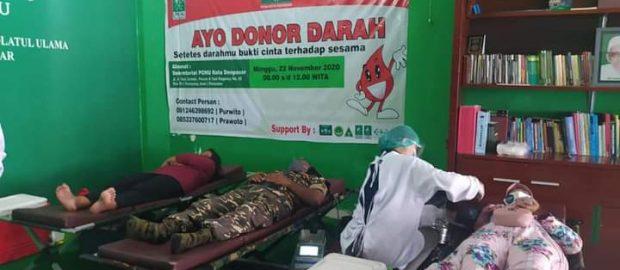 Donor Darah LPBINU Kota Denpasar Sertakan Sosialisasi 3 M
